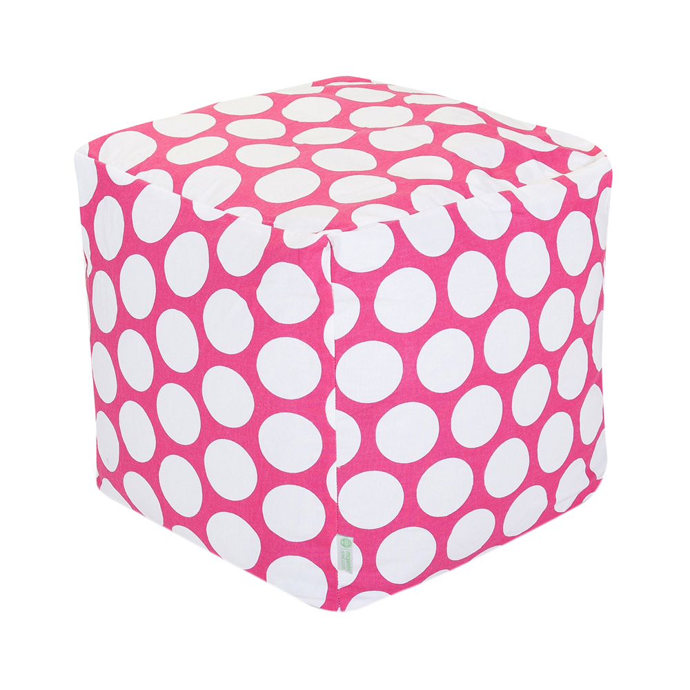 Majestic Home Goods Hot Pink Large Polka Dot Cube Ottoman - Small