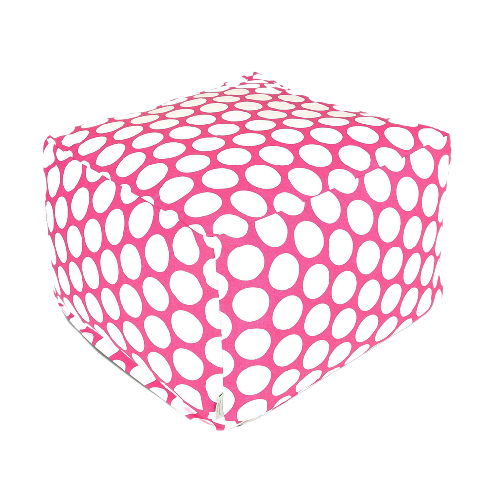 Majestic Home Goods Decorative Hot Pink Large Polka Dot Ottoman Large