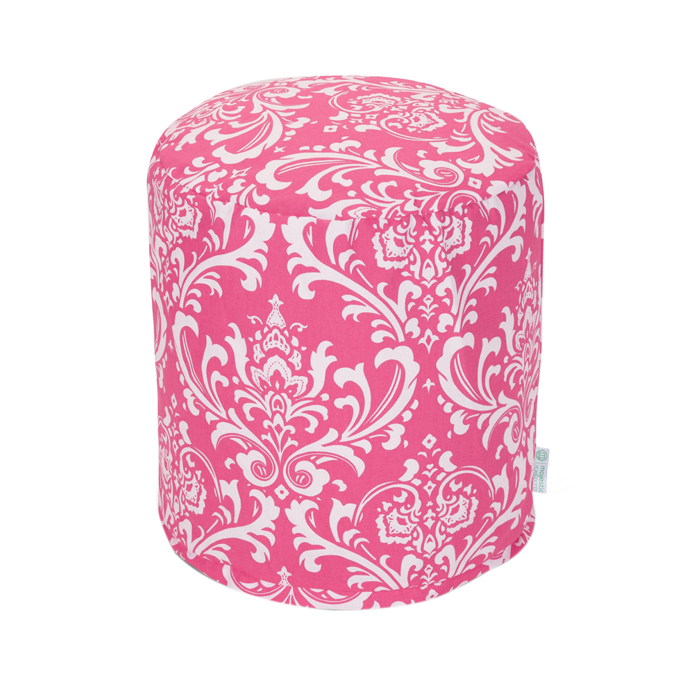 Majestic Home Goods Decorative Hot Pink French Quarter Pouf Small