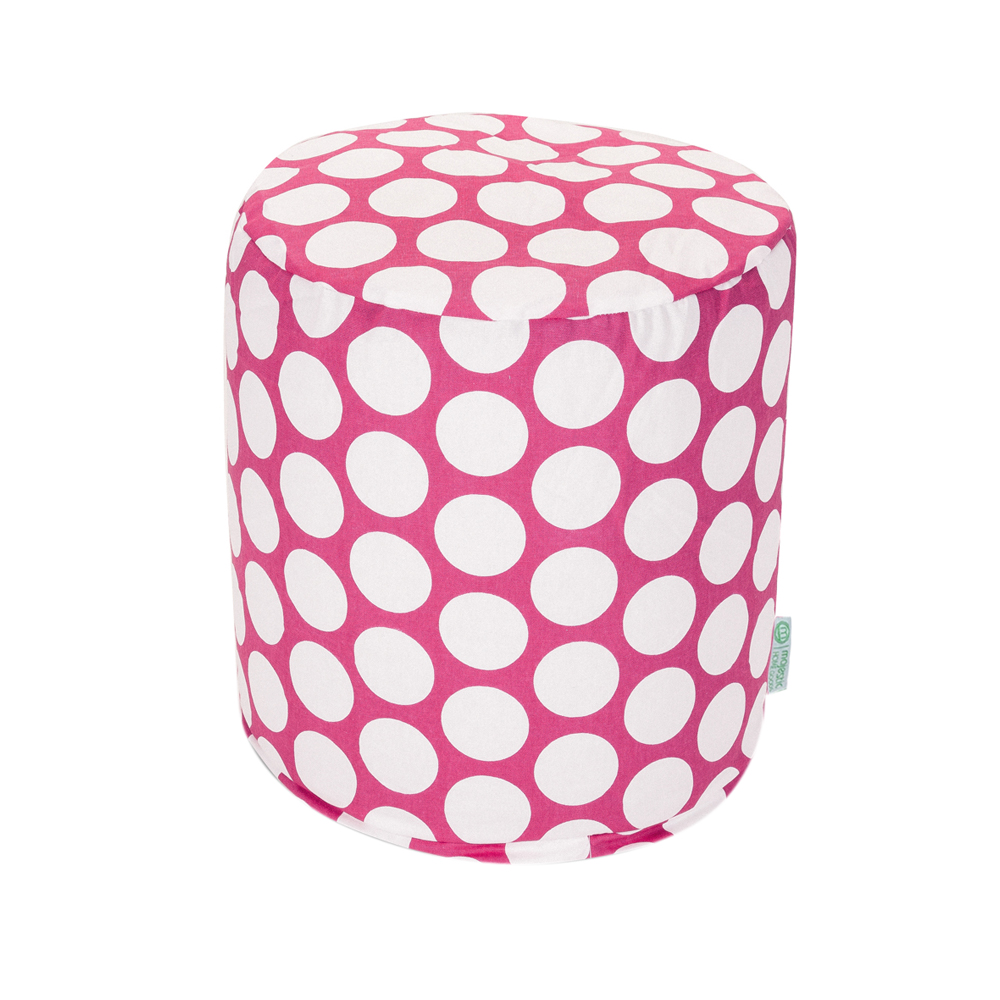 Majestic Home Goods Hot Pink Large Polka Dot Pouf - Small