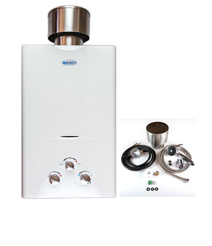 Marey 3.1 GPM Liquid Propane  bundle with raincap,  shower head , gas regulator and hose