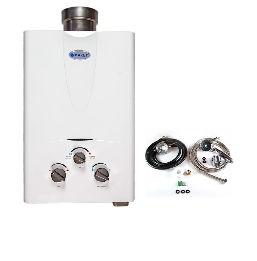Marey 2.0 GPM  Liquid Propane bundle with shower head , gas regulator and hose