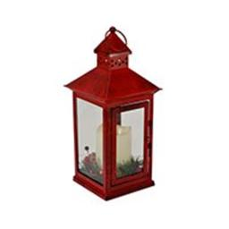 Holiday Berry and Pine Ring Red 13.5 LED Lantern