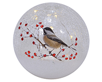 Crackle Glass 6 inch Globe Chickadee Solo