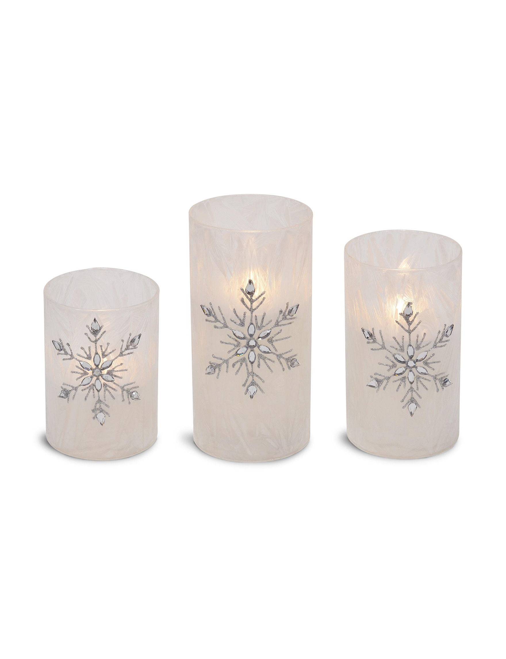 Snowflake LED Pillar Set