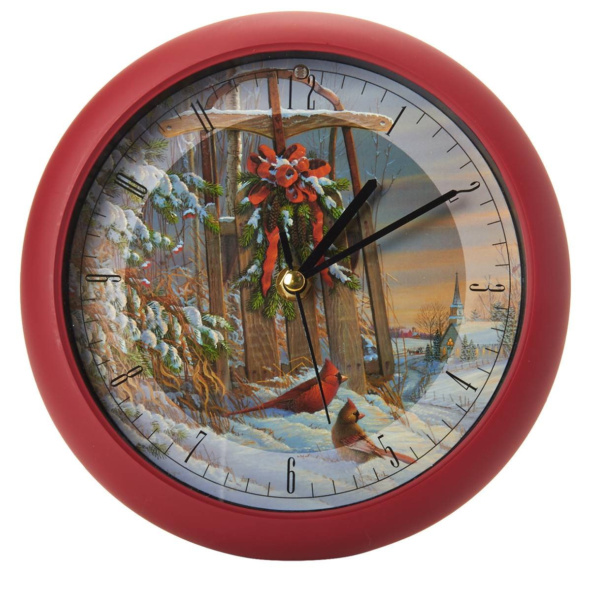 Wintertime Sleigh Cardinals 8 inch Sound Clock