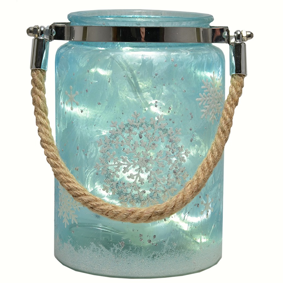 Glass Canister Blue Snowflake w/LED String Lights