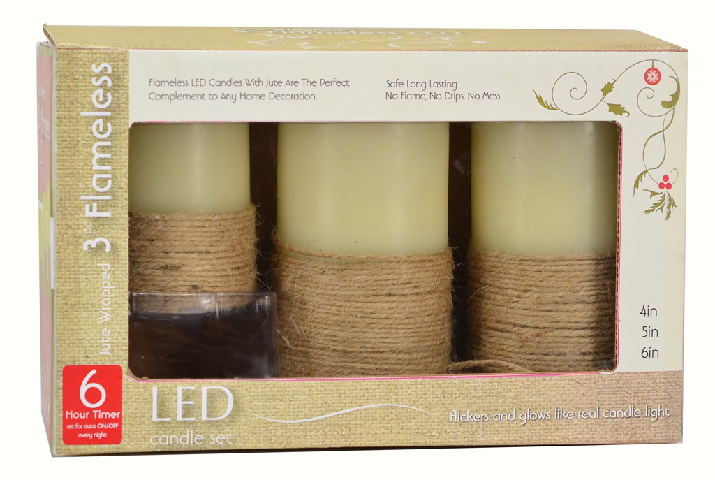 Flameless Candle Pillar Jute Wrapped 3 pc Set w/Timer