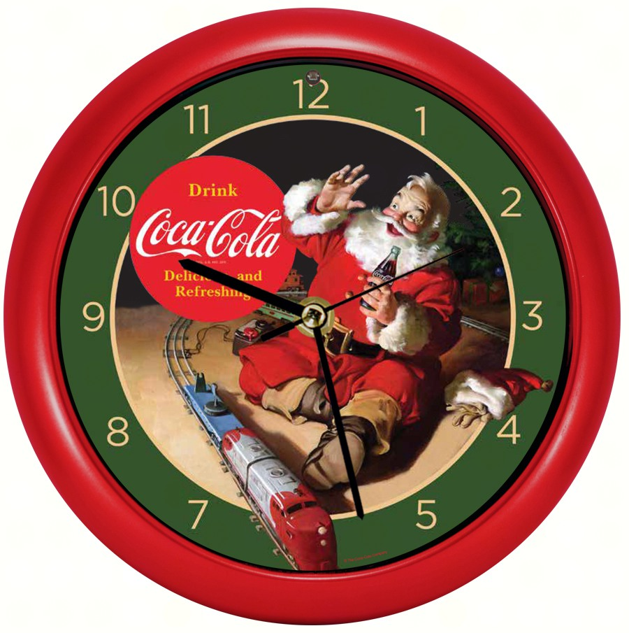 Coca-Cola Santa w/Train 8 inch Sound Clock