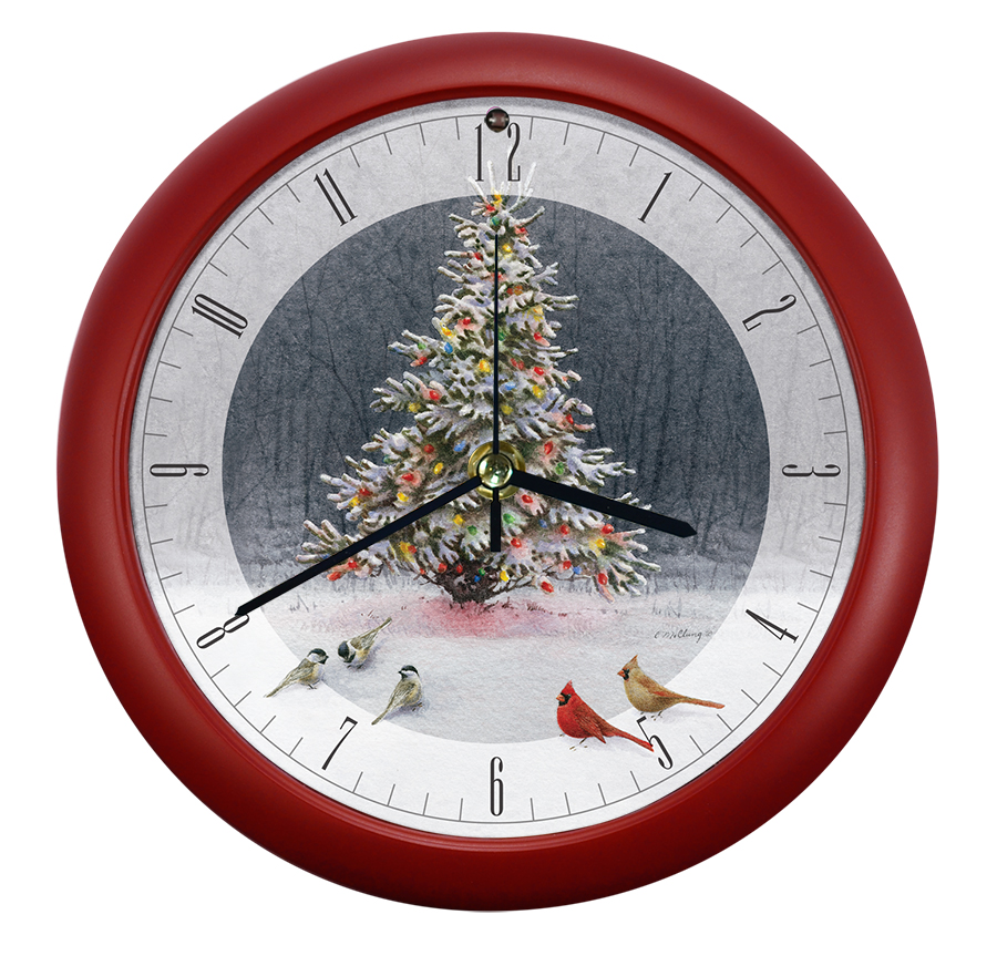 Christmas Tree Bird Gathering Clock