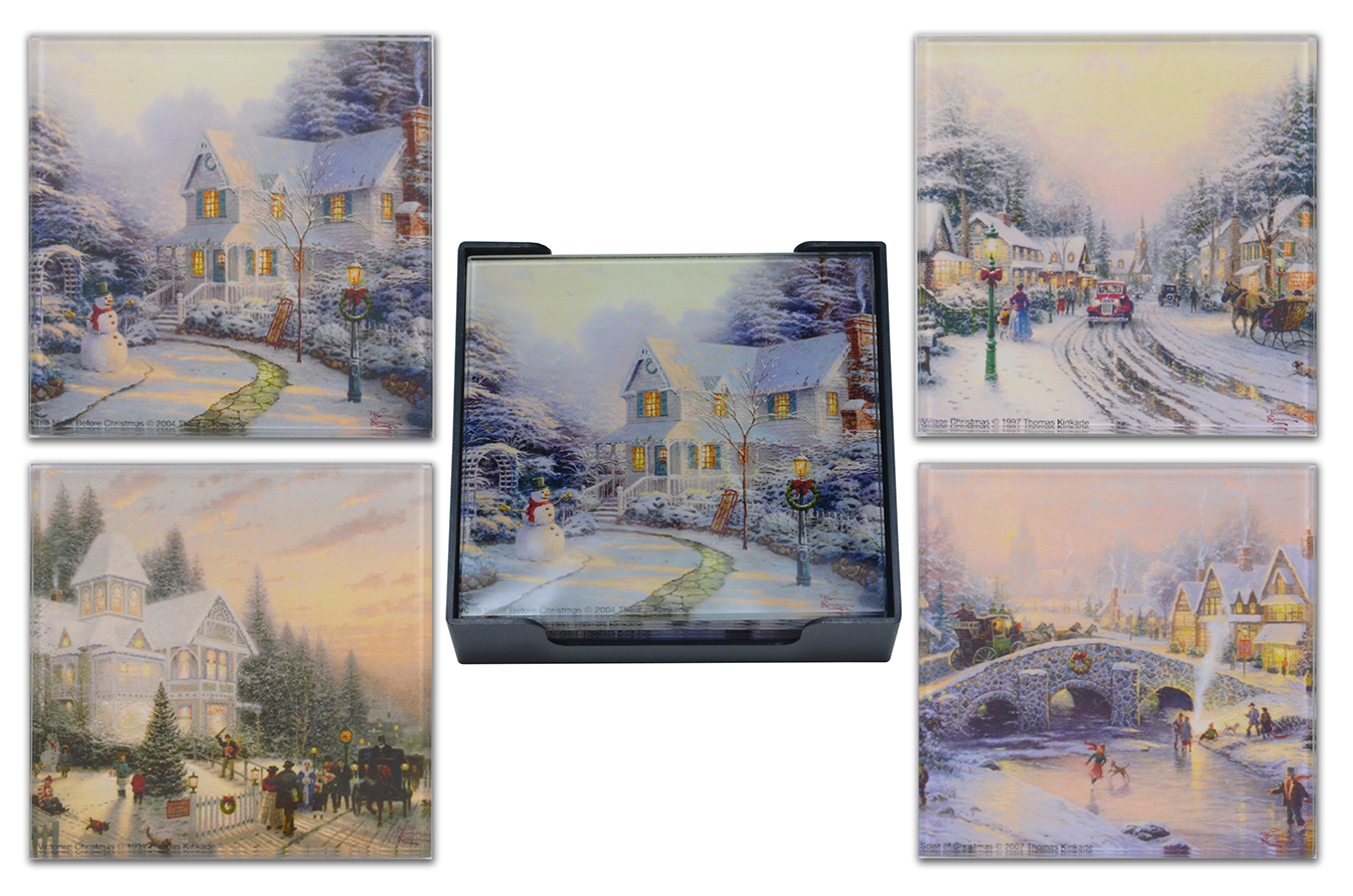 Thomas Kinkade Winter Scenes Glass Coaster Set of 4