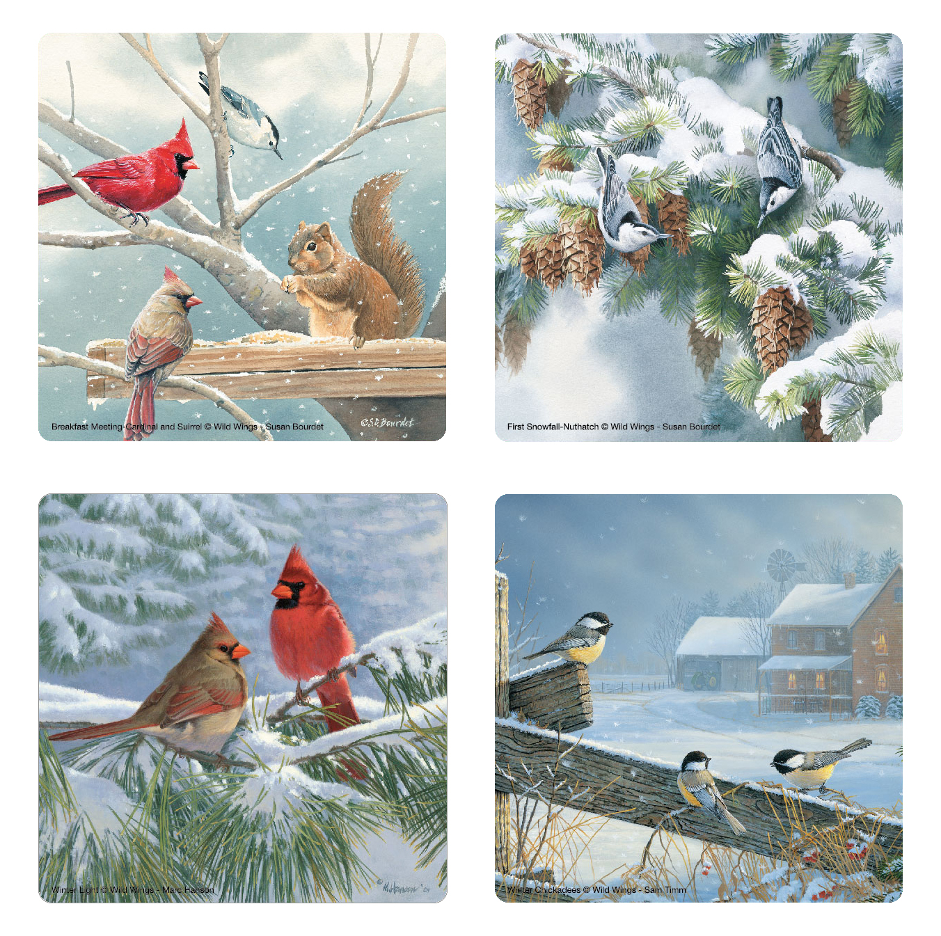 Winter Birds Glass Coaster Set of 4