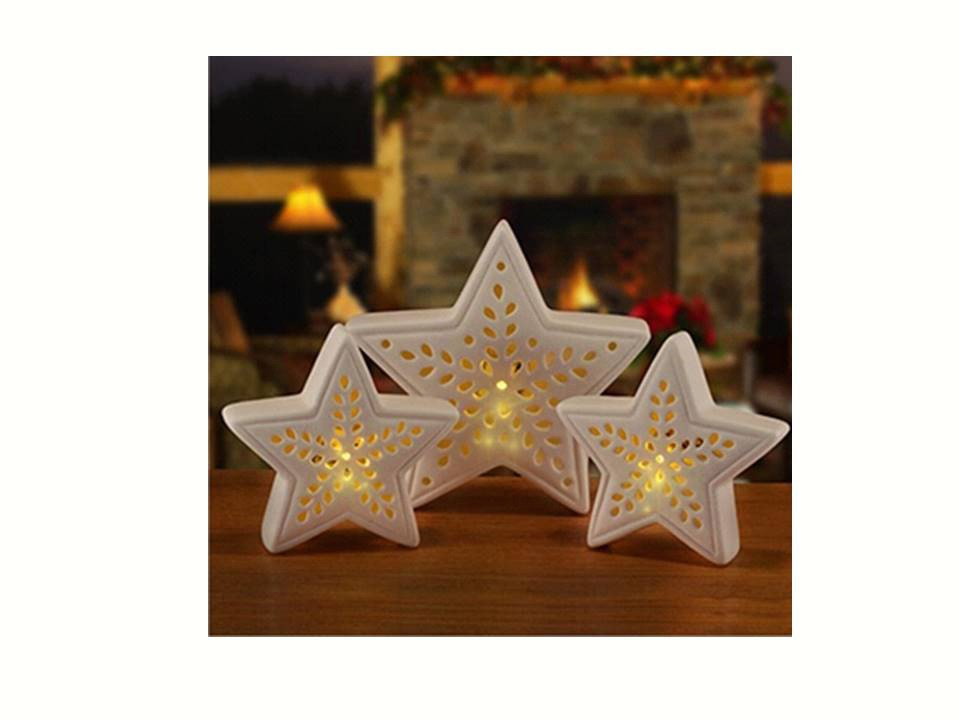 Porcelain Star 3 pc LED Set