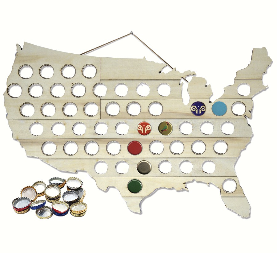 Beer Bottle Cap Map USA