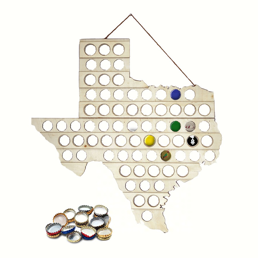 Beer Bottle Cap Map Texas