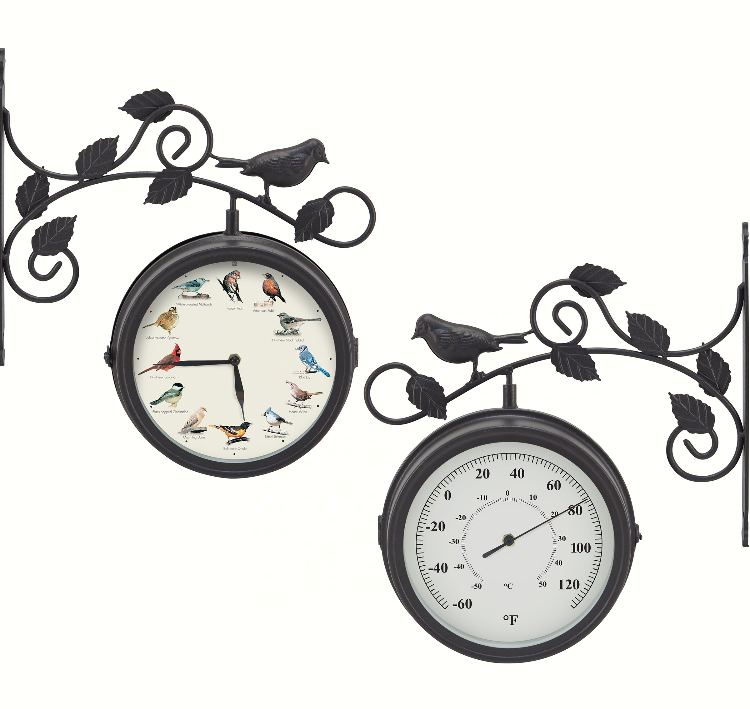 Decorative Outdoor Bird Clock/Thermometer