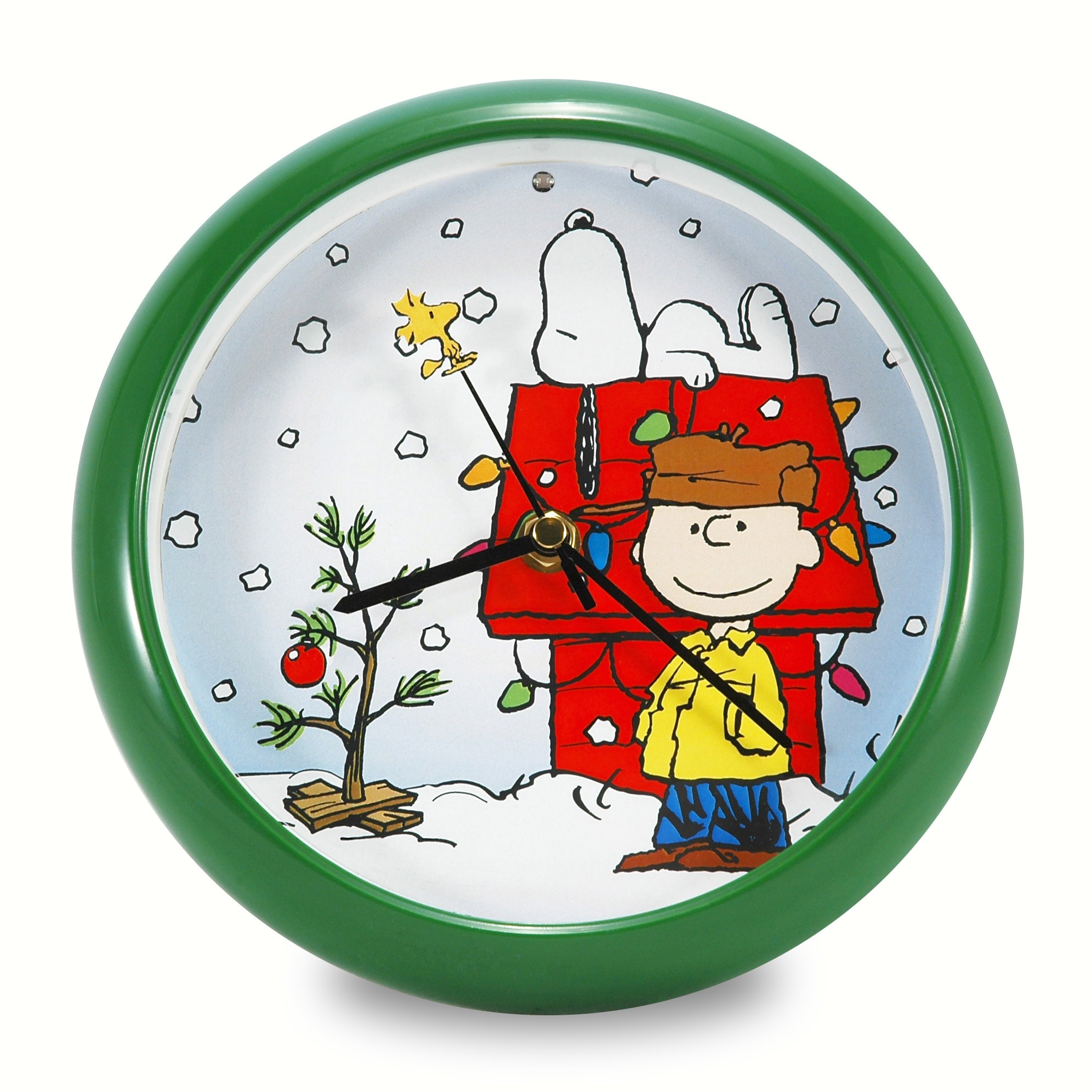 Peanuts Holiday Dog House 8 inch Clock