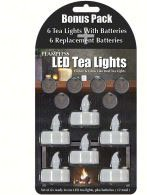 LED Tea Lights 6 Pack w/Replacement Batteries