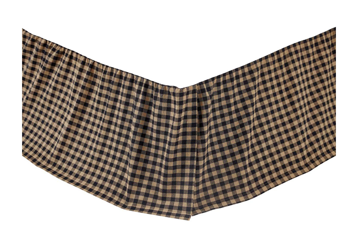 Black Check Queen Bed Skirt