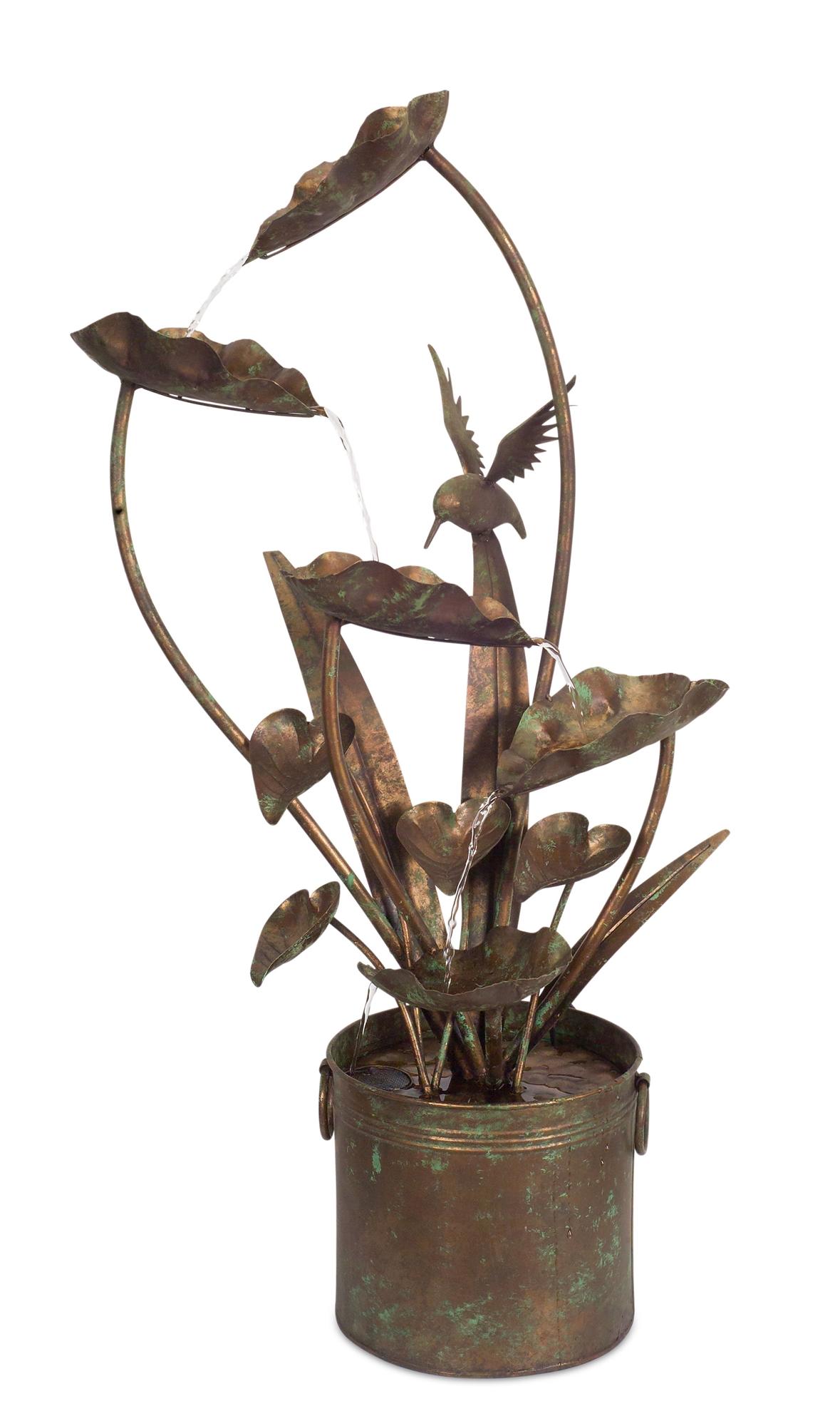 "Anthurium and Hummingbird Fountain 39.5""H Iron"