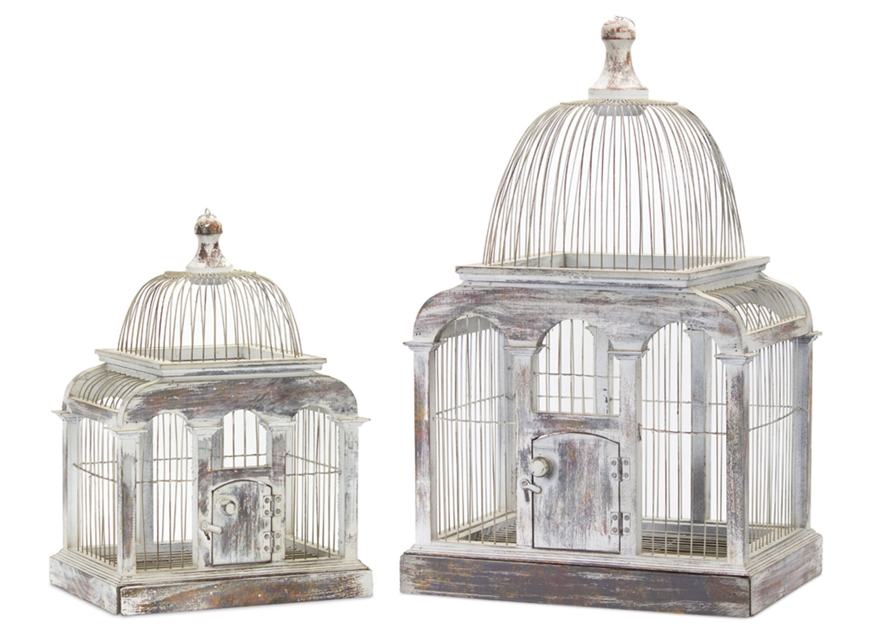 "Bird Cage (Set of 2) 13.25"" x 19.5""H, 17.25"" x 27.25""H Wood/Iron"