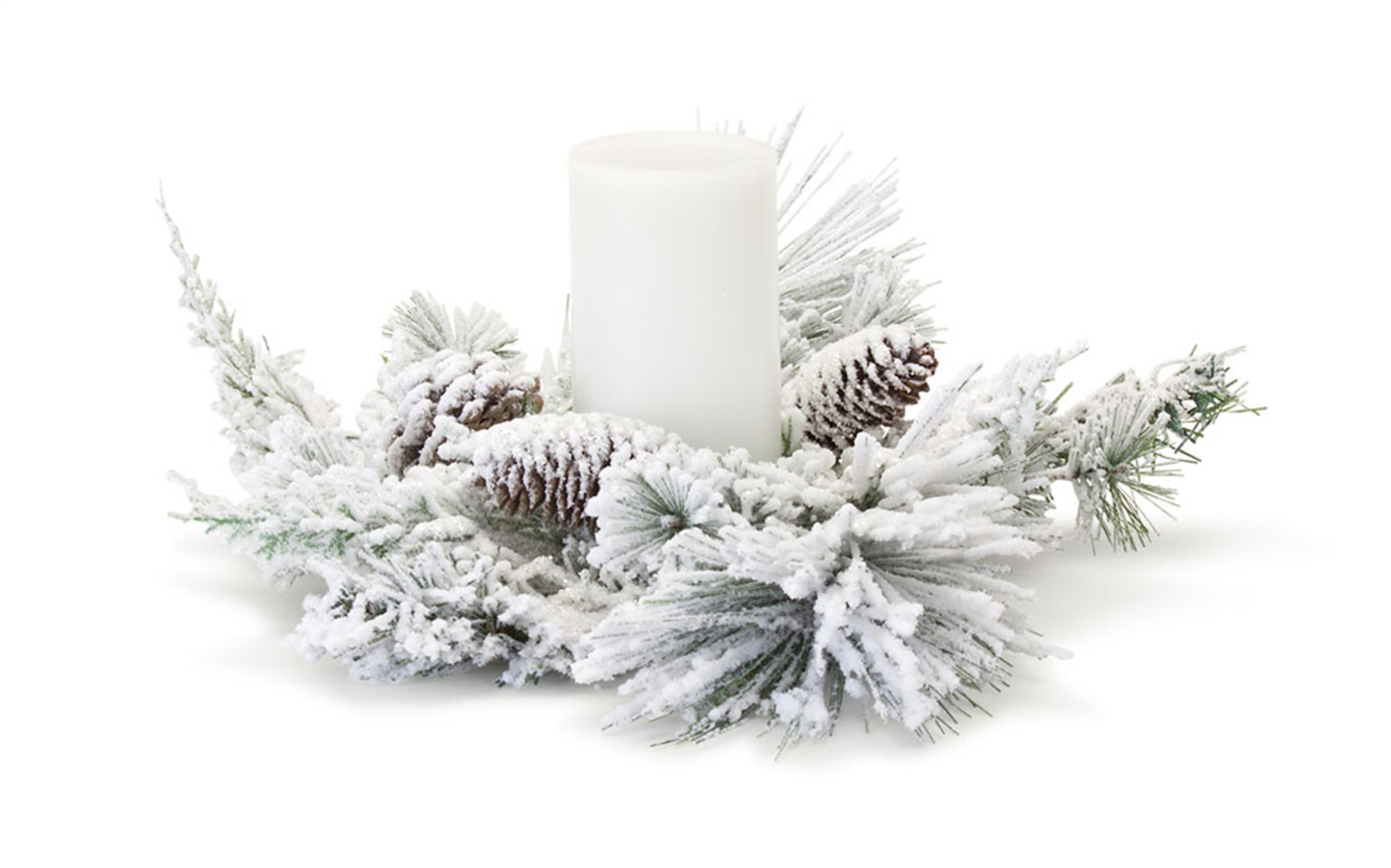 """Snowy Mixed Pine Candle Ring 16""""D (Set of 6) (Fits a 4"""" Candle) PVC"""