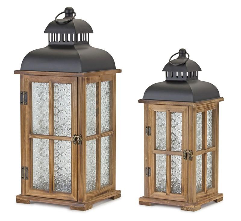 """Lantern (Set of 2) 15.5""""H, 19.25""""H Wood/Metal"""