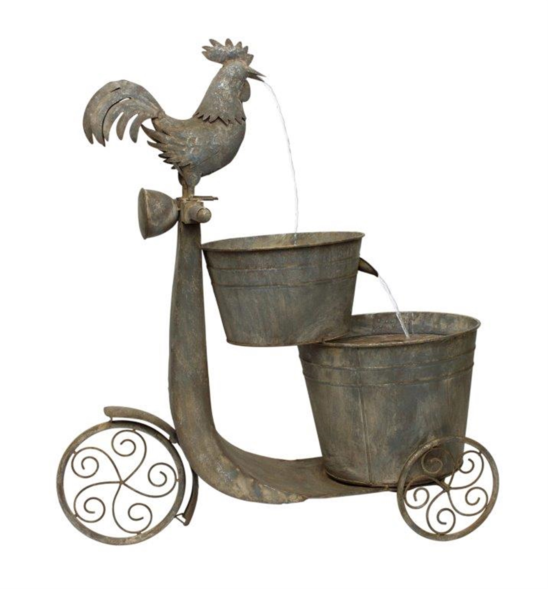 """Chicken on Scooter Fountain 27.25""""L x 31""""H Iron"""
