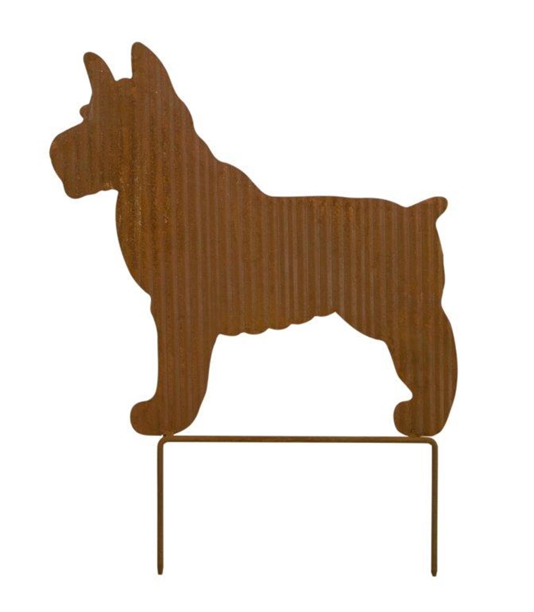 """Dog Silhouette Lawn Stake 12.25""""L x 15.75""""H Iron"""