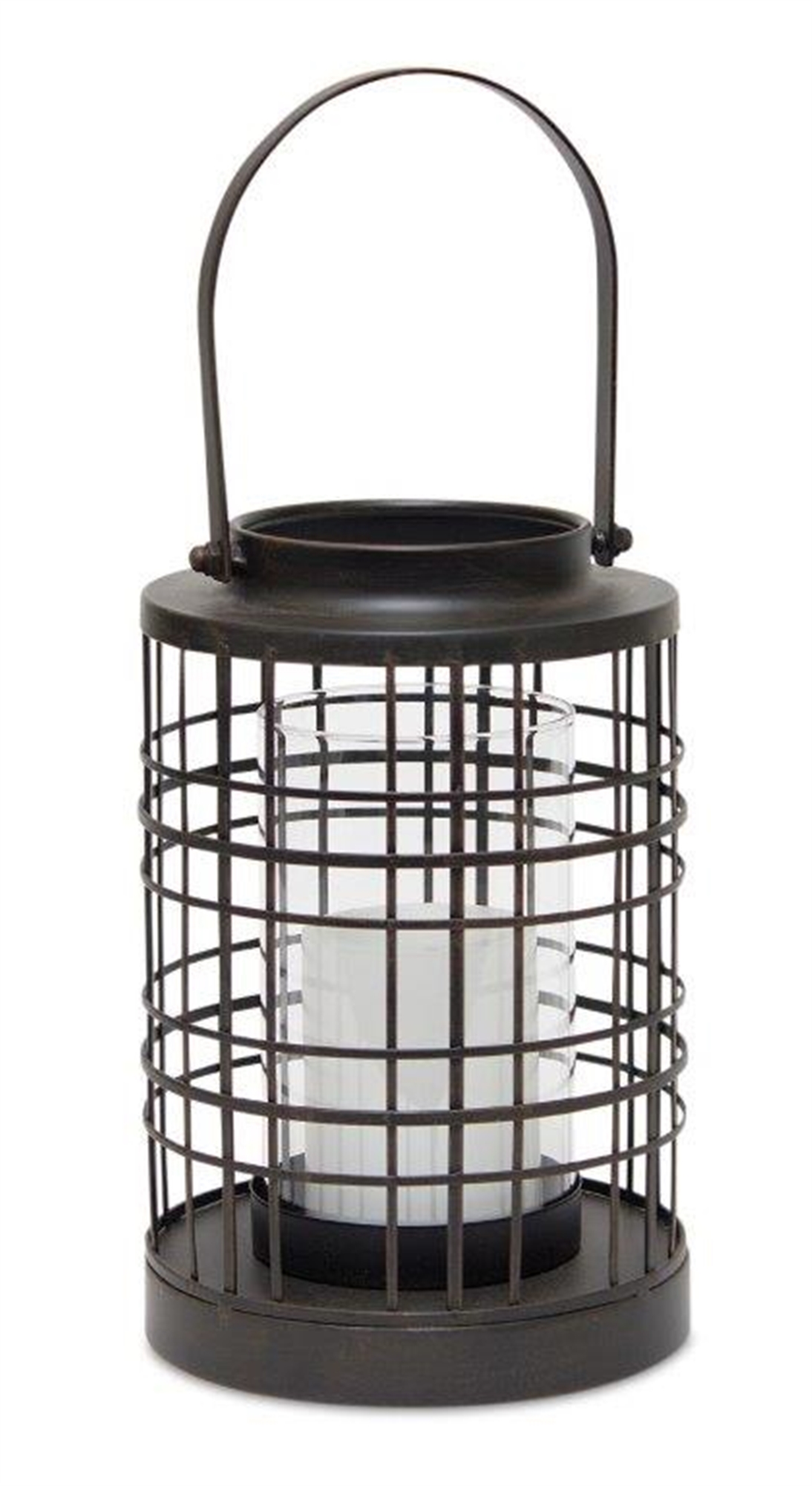 "Lantern 7""D x 14.75""H Iron/Glass"