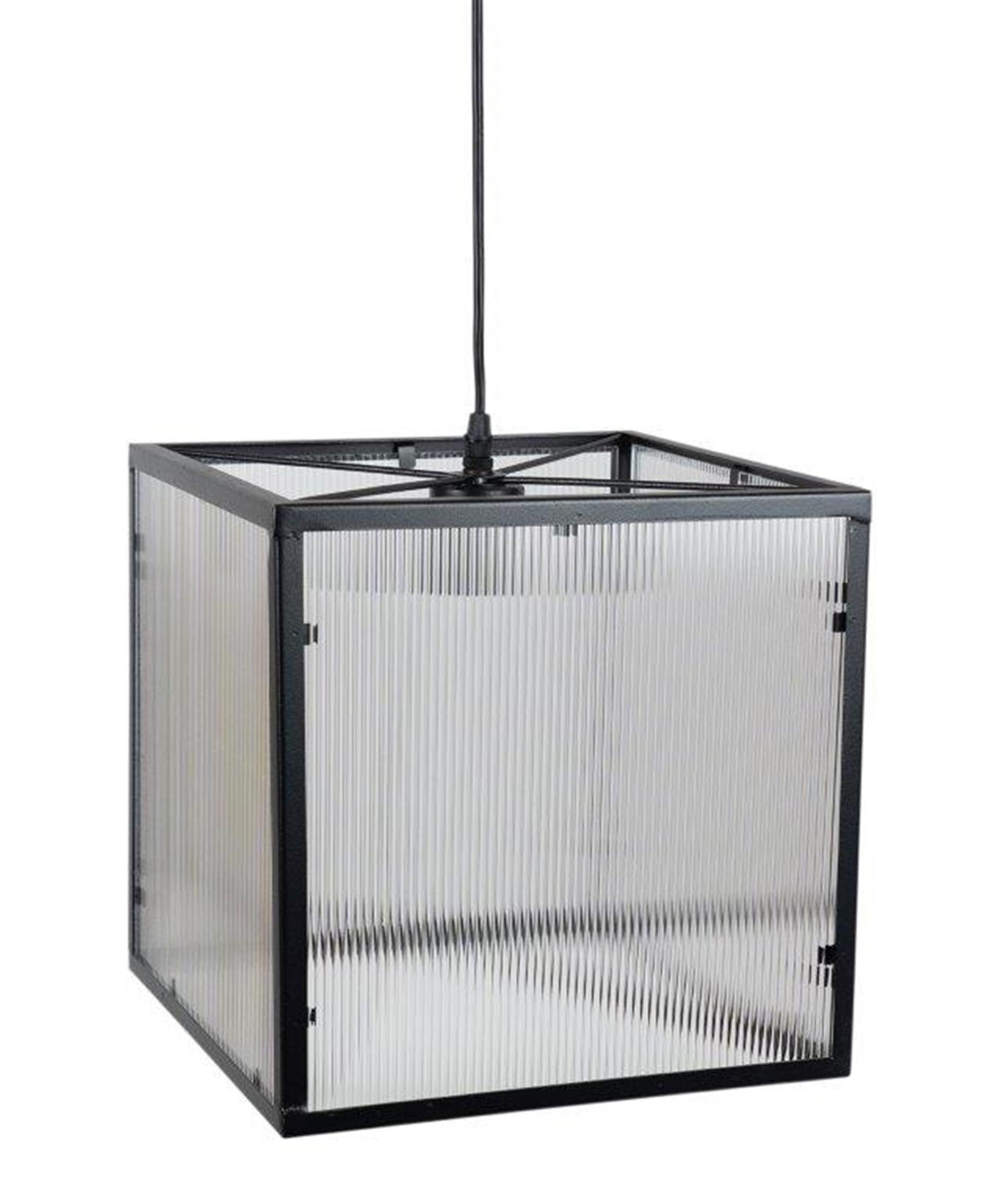 "Hanging Lamp Max 40 WATT 12""SQ Iron/Acrylic (cord length is 44""L)"