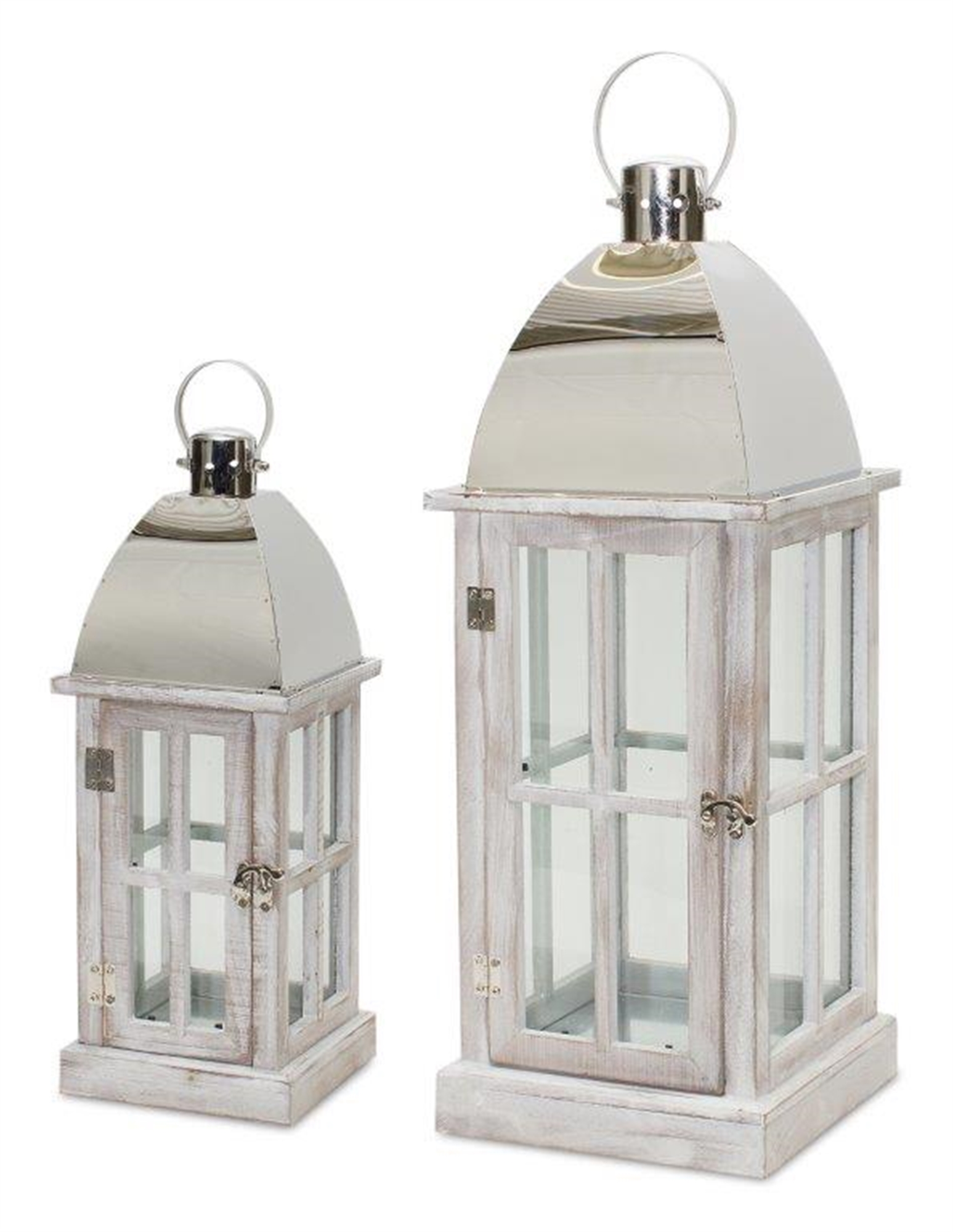 "Lantern (Set of 2) 5.5""L x 14.5""H, 8""L x 21.5""H Wood/Iron"