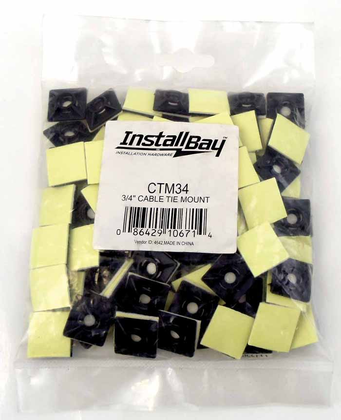 "3/4"" X 3/4"" ADHESIVE BACKED CABLE TIE MOUNT 100PK"
