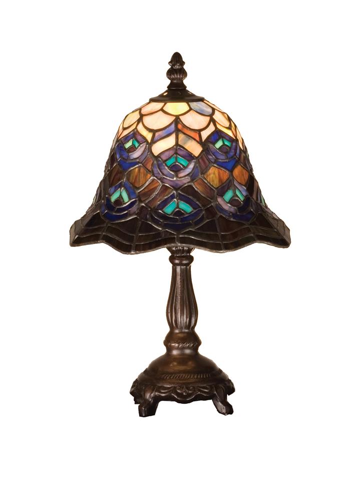 "13.5""H Tiffany Peacock Feather Mini Lamp"