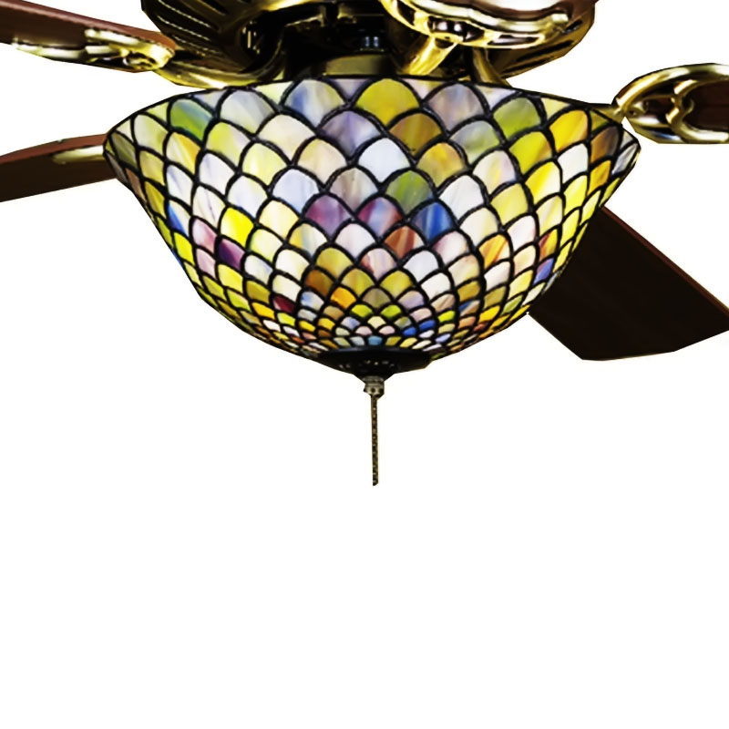 "12""W Tiffany Fishscale Fan Light Fixture"