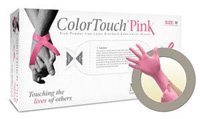 """Microflex+ Medium Pink 9.5"""" ColorTouch+ Pink 6 mil Latex Non-Sterile Lightly Powerdered Disposable Gloves With Textured Finished"""