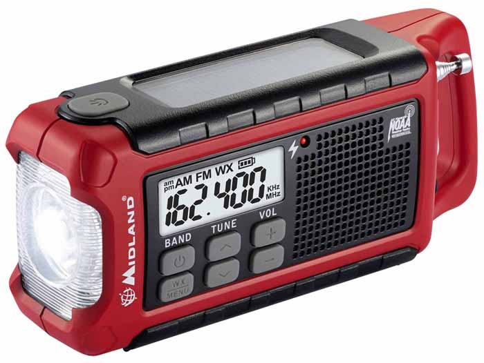 EMERGENCY CRANK RADIO/SOLAR/BATTS/USB/NOAA/LIGHT