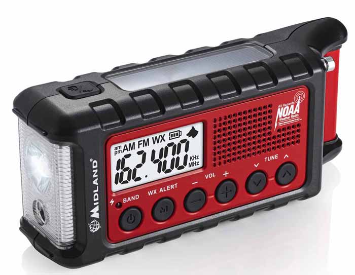 CRANK RADIO/SOLAR/BATT/USB/NOAA/LIGHT/DOG WHISTLE