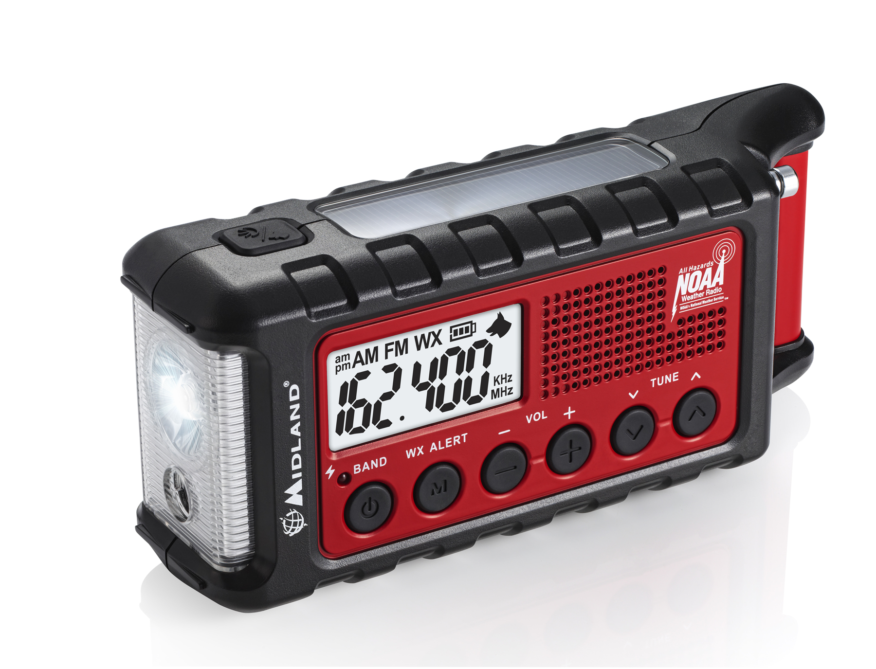 MIDLAND ER310 SOLAR CRANK AM/FM RADIO WITH USB CHARGING PORT, NOAA WEATHER, FLASHLIGHT WITH SOS BEACON & ULTRASONIC DOG WHISTLE
