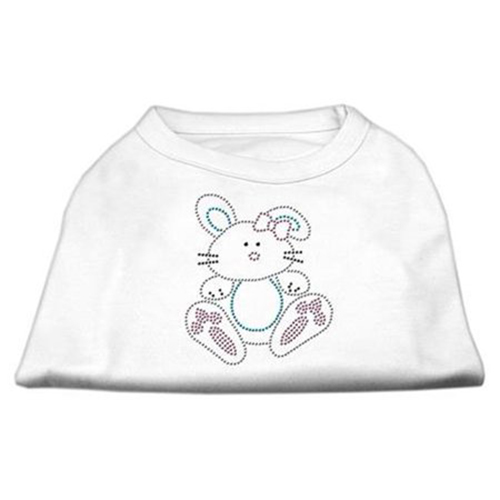 Bunny Rhinestone Dog Shirt White Med (12)