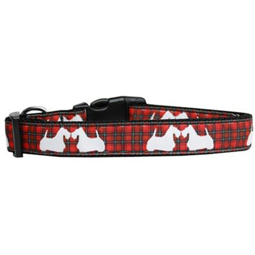 Red Plaid Scottie Pups Nylon Dog Collar XL