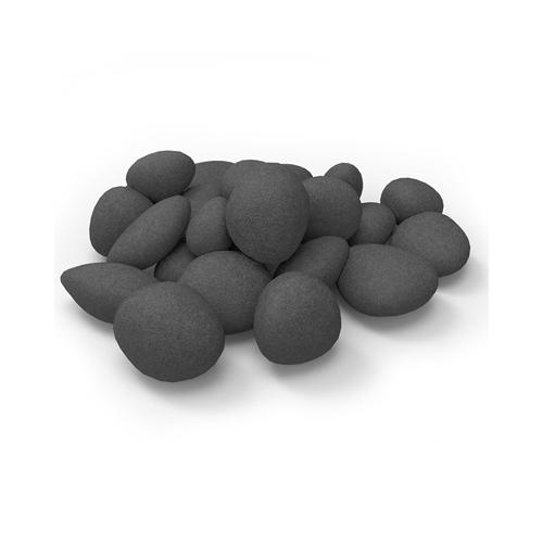 24 Piece Ceramic Fireplace Pebble Set in Black