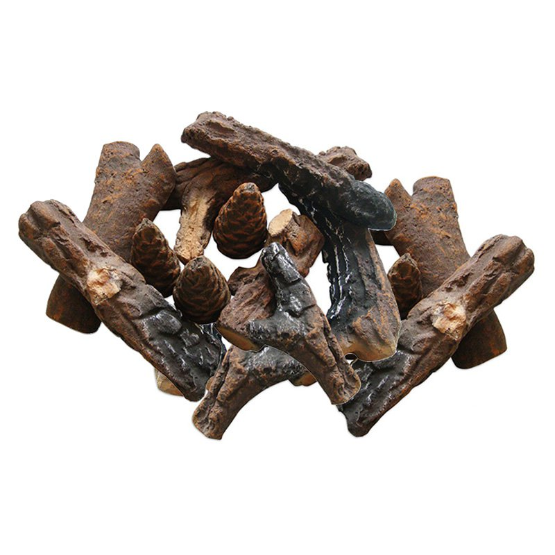 18 Piece Ceramic Fireplace Wood Log Set