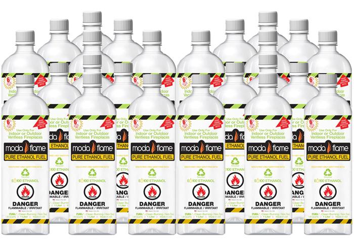 1 liter Bio-ethanol Indoor Fireplace Fuel (24 Bottles)