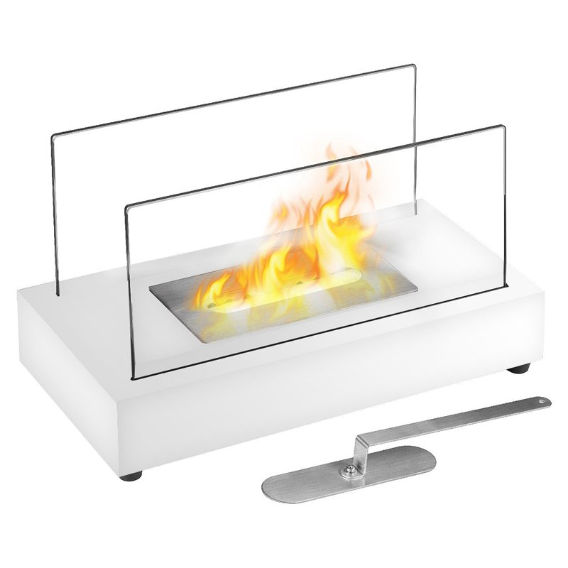 Vigo Table Top Ethanol Fireplace White