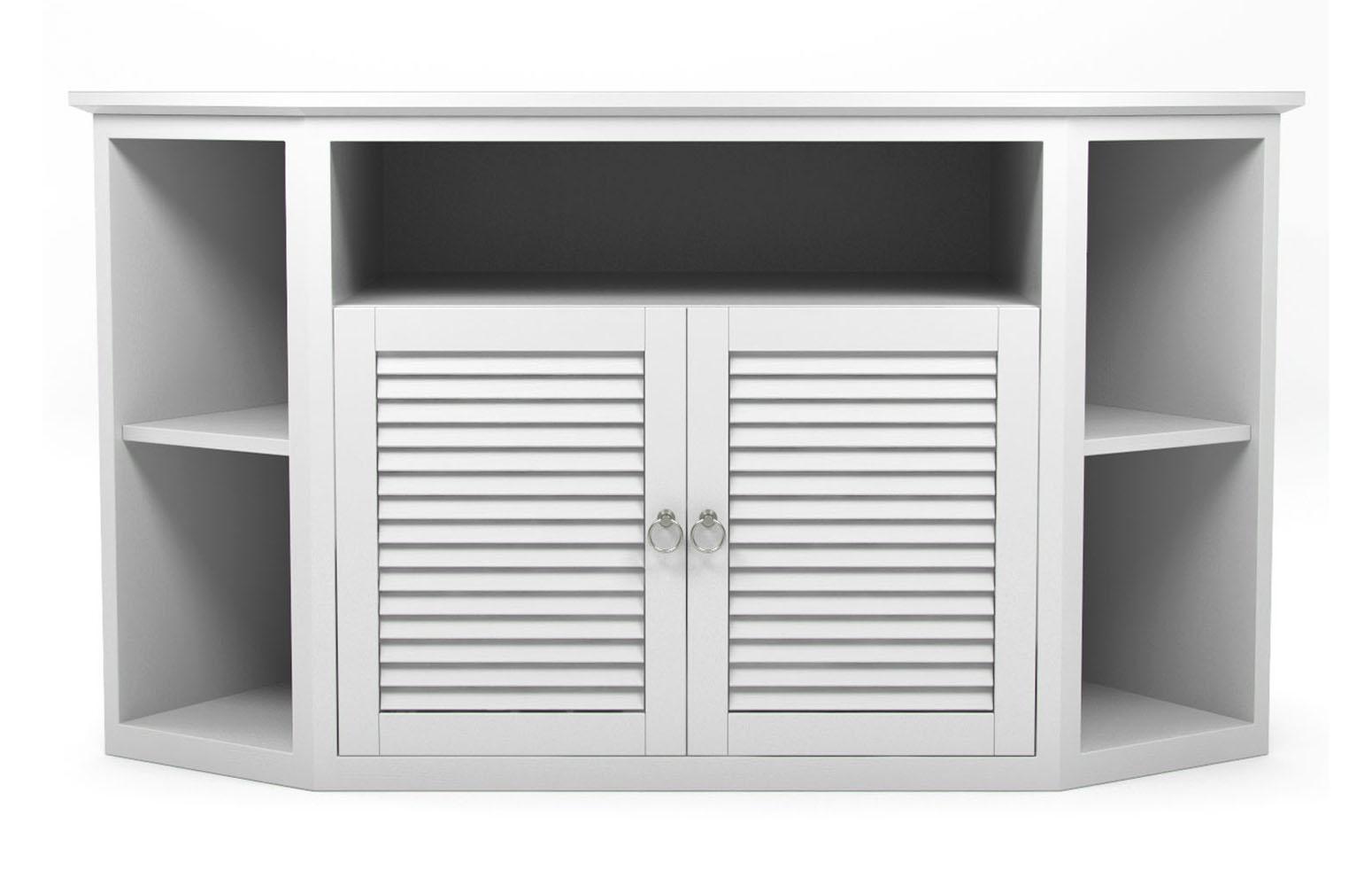 """Aspen 52"""" TV Corner Console in Matte White"""
