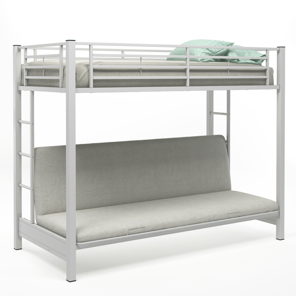 Zelen Twin Over Futon Bunk Bed, White