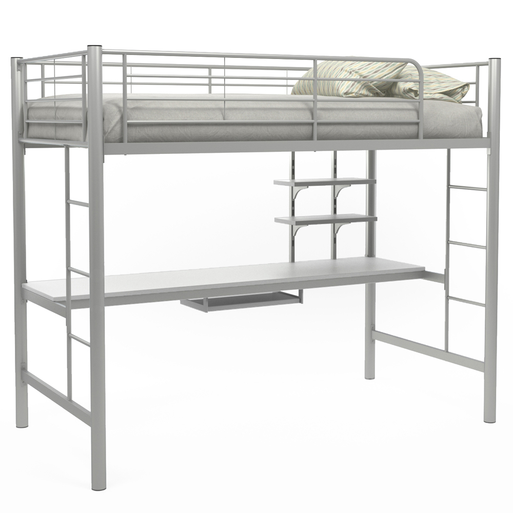 Andover Twin Over Workstation Bunk Bed, Silver