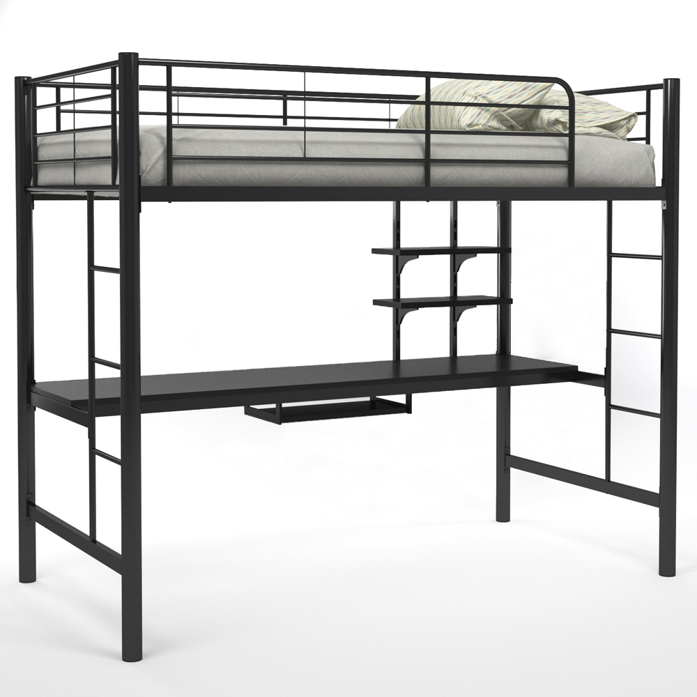 Willow Twin Over Workstation Bunk Bed, Black