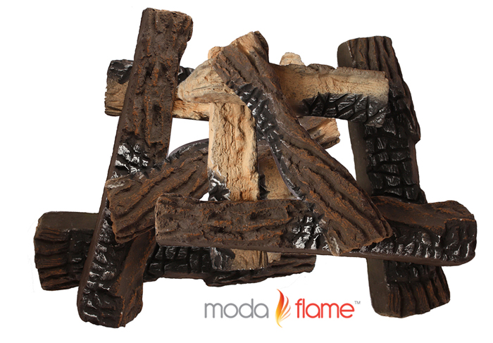 10 PCS Ceramic Fireplace Logs